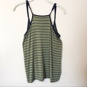 Army Green and Navy Open Back Striped Tank Top